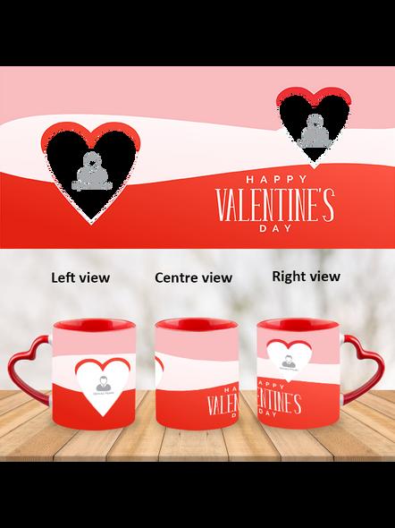 Tri Colour Happy Valentines Heart Handle Mug-HM0004A-1
