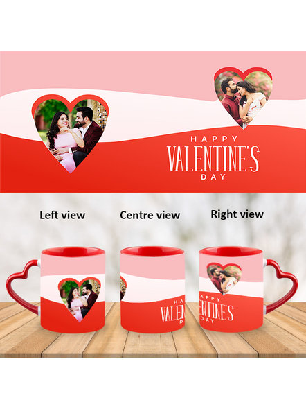 Tri Colour Happy Valentines Heart Handle Mug-Red Inner & Handle-1