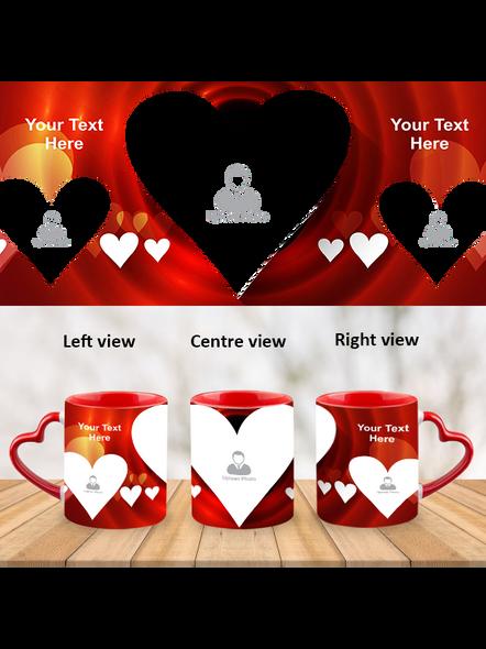 Red Hearts happy wedding Heart Handle Mug-HM0009A-1