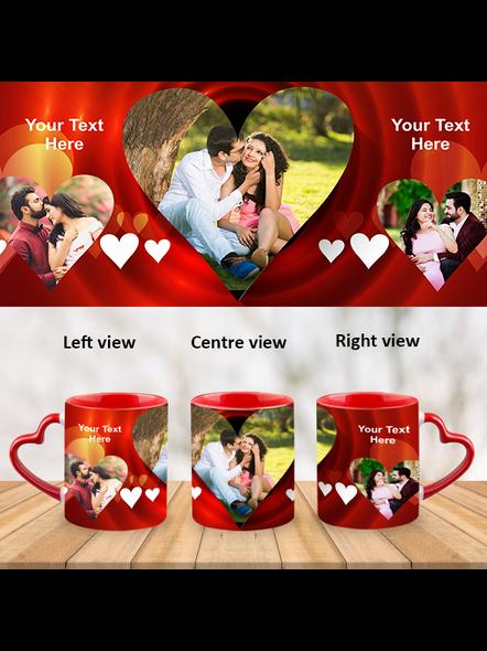 Red Hearts happy wedding Heart Handle Mug-Red Inner & Handle-1