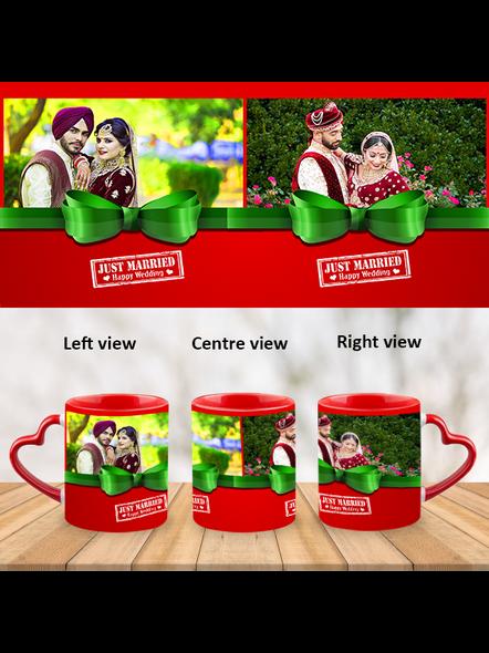 Just Married Happy Wedding Heart Handle Mug-Red Inner & Handle-1