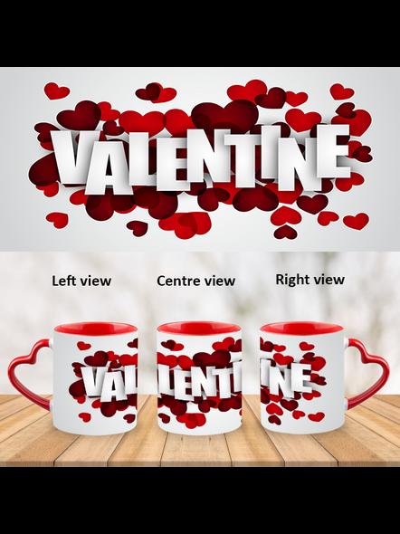 Rose Valentines red Heart Handle Mug-HM0017A-1