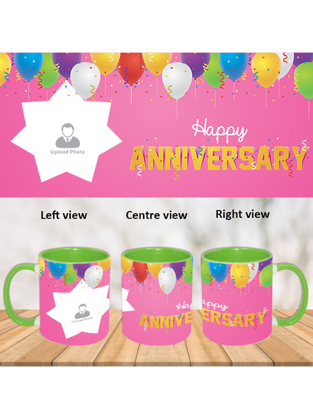 Happy Anniversary Flying Balloons Green Inner Color Mug-ICGM0001A-1
