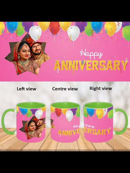 Happy Anniversary Flying Balloons Green Inner Color Mug-Green-1