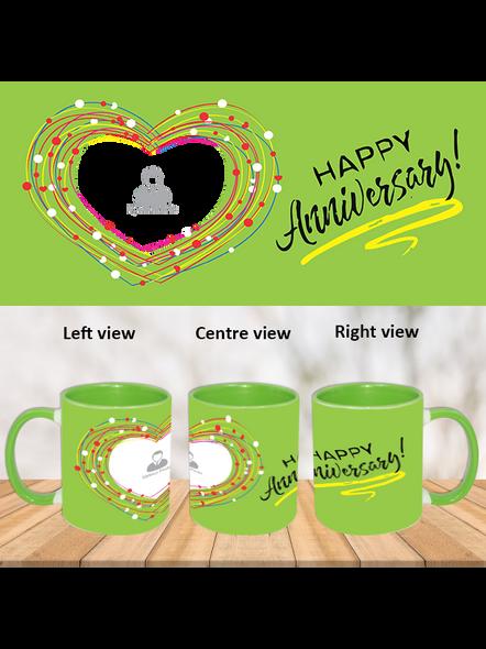 Happy Anniversary green hearts Green Inner Colour Mug-ICGM0002A-1
