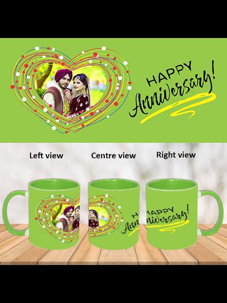 Happy Anniversary green hearts Green Inner Colour Mug-Green-1