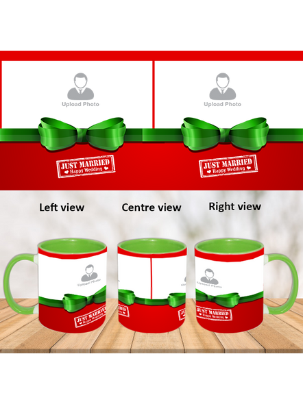 Just Married Couple Green Inner Color Mug-ICGM0003A-1