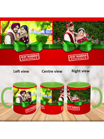Just Married Couple Green Inner Color Mug-Green-1