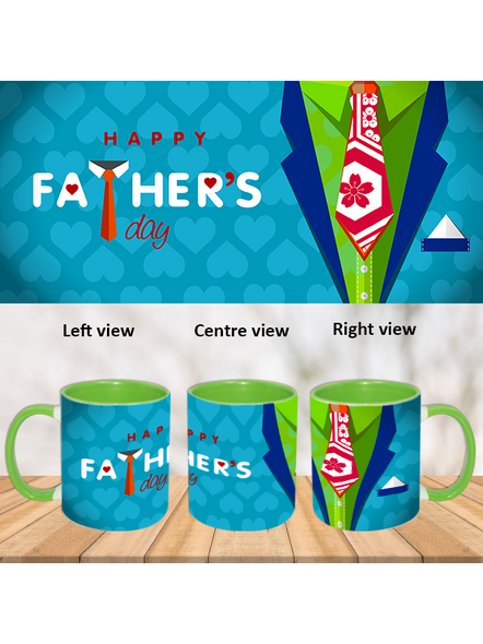 Happy Father's day Green Inner Colour Mug-ICGM0008A-1