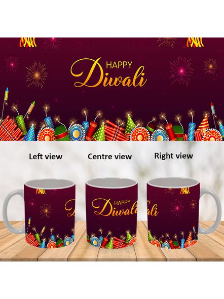 Happy Diwali Crackers Blasting Theme Special White Mug-WM0069A