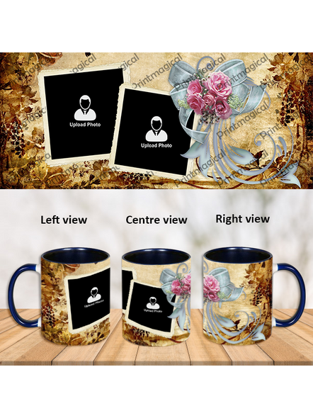 Personalized Flowral Theme Blue Inner Color Mug-Blue-1