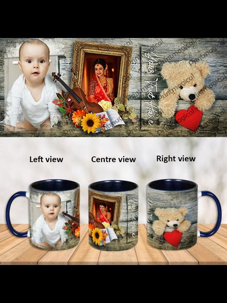 Cute Teddy Personalized Blue Inner Color Mug-ICBM0025A