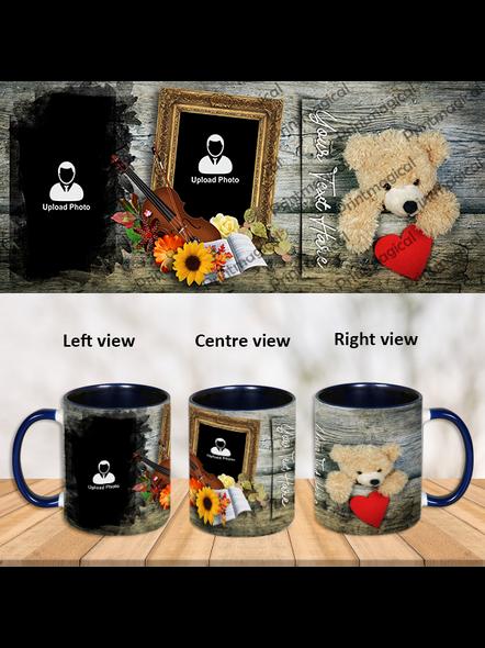 Cute Teddy Personalized Blue Inner Color Mug-Blue-1