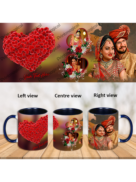 Personalized Heart Touching Theme Blue Inner Color Mug-ICBM0028A
