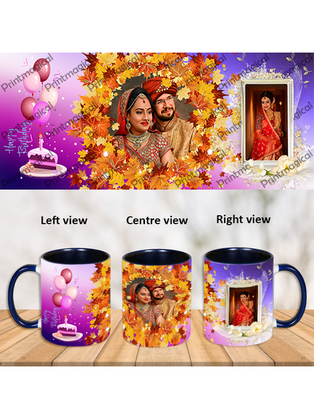 Personalized Birthday Nature Theme Blue Inner Color Mug-ICBM0030A