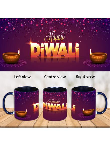 Happy Diwali Wish Inner Color Blue Mug-ICBM0039A