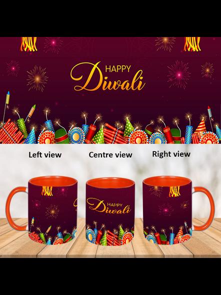 Happy Diwali Crackers Blastinh Inner Color Orange Mug-ICOM0020A