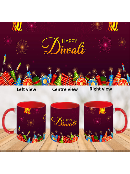 Happy Diwali Crackers Blasting Theme Inner Color Red Mug-ICRM0040A