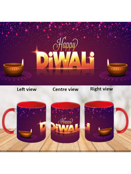 Happy Diwali Wish Inner Color Red Mug-ICRM0042A