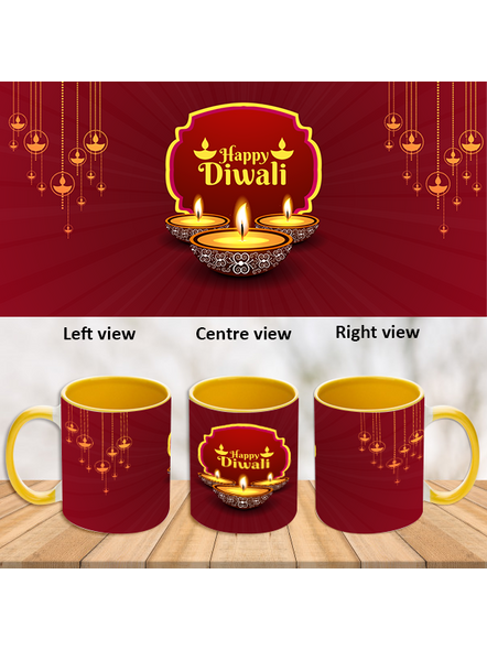 Special Wishes Diwali Inner Color Yellow Mug-ICYM0026A