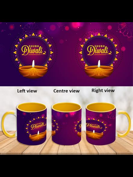 Diwali Diyas Inner Color Yellow Mug-ICYM0029A