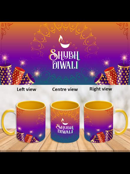 Shubh Diwali Crackers Inner Color Yellow Mug-ICYM0031A