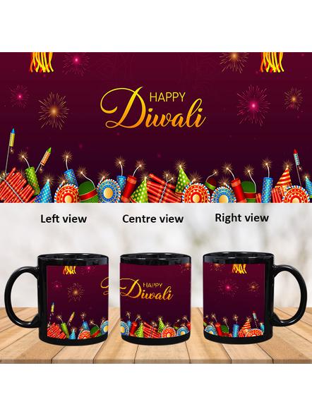 Happy Diwali Crackers Blasting Black Patch Mug-PBM0042A