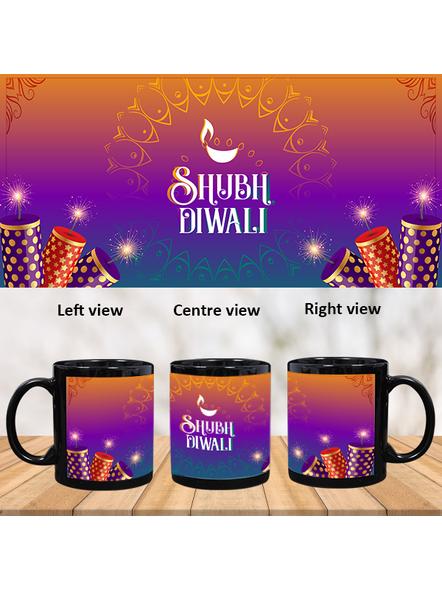 Shubh Diwali Crackers Theme Black Patch Mug-PBM0047A