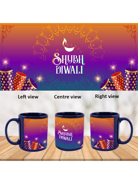 Shubh Diwali Crackers Theme Blue Patch Mug-PBLM0039A