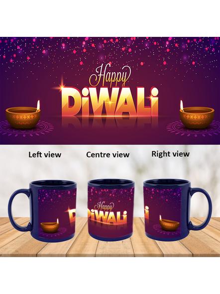 Happy Diwali Wish Blue Patch Mug-PBLM0040A