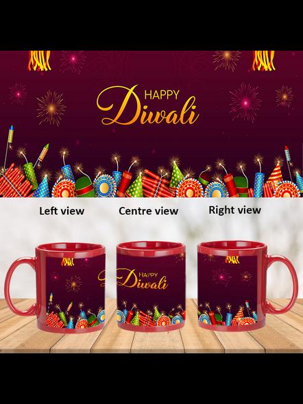 Happy Diwali Crackers Blasting Pink Patch Mug-PRM0038A