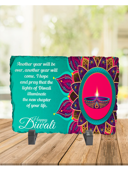 Designer Diya with Quote Rectangle Photo Rock Stone-RCTFOTO0033A