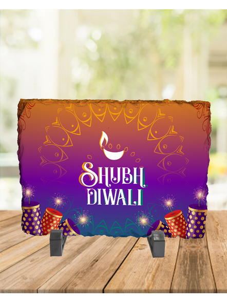 Happy Shubh Diwali Crackers Rectangle Photo Rock Stone-RCTFOTO0034A