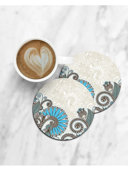Beautiful Embroidery Printed Round Coaster-CCOSTER0004