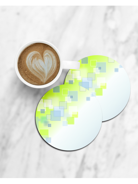 Green Block Patterns Printed Round Coasters-CCOSTER0012