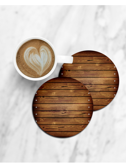 Wooden Table Shade Pattern Round Coaster-CCOSTER0018