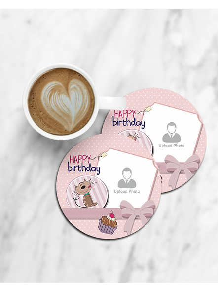 Personalized Happy Birthday with Cake Printed Designer Round Coaster-CCOSTER0023