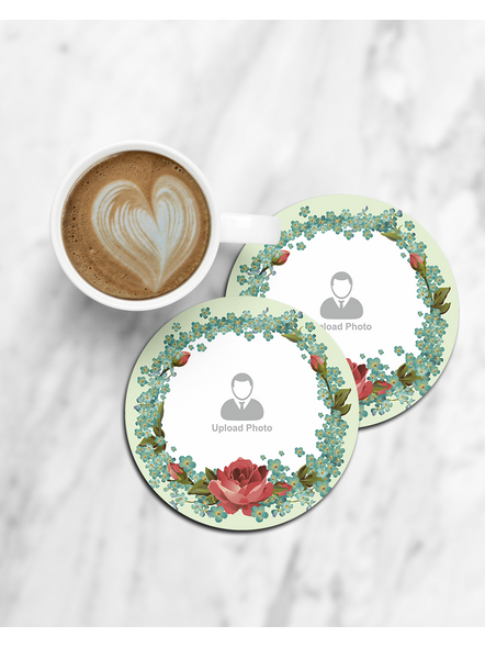 Floral Boundary with Rose Personalized Round Coaster-CCOSTER0025