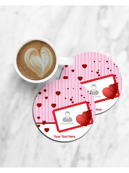 Hanging Hearts with Love Theme Personalized Round Coaster-CCOSTER0028