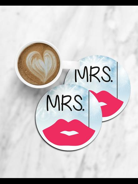 Mrs. Printed Designer Round Coaster-CCOSTER0031