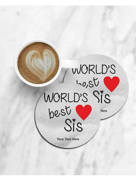 World's Best Sis Printed Round Coaster-CCOSTER0032