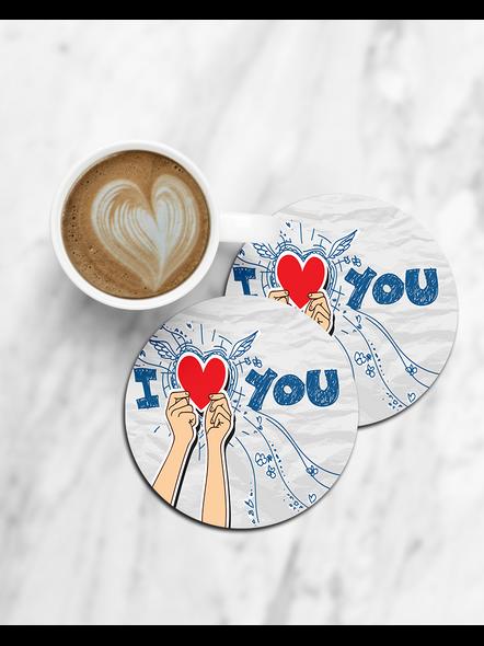 I Love You Holding Heart Printed Designer Round Coaster-CCOSTER0037