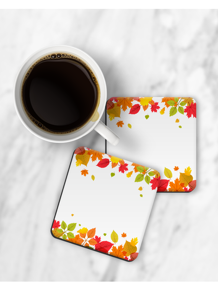 Colorful Leaves Patterns Printed Square Coaster-RCOSTER0003