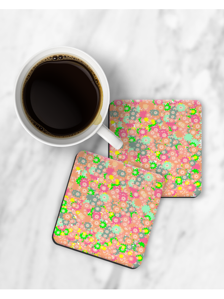 Floral Pattern Printed Square Coaster-RCOSTER0011