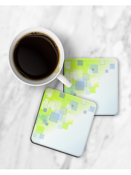 Green Block Patterns Printed Square Coasters-RCOSTER0012