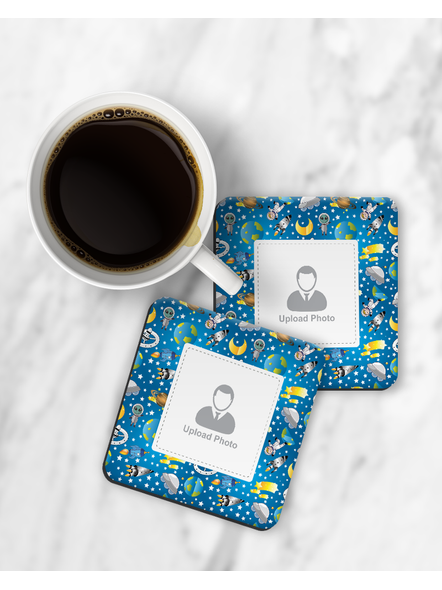 Astronaut Printed Personalized Square Designer Coster-RCOSTER0022