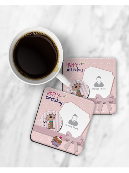 Personalized Happy Birthday with Cake Printed Designer Square Coaster-RCOSTER0023
