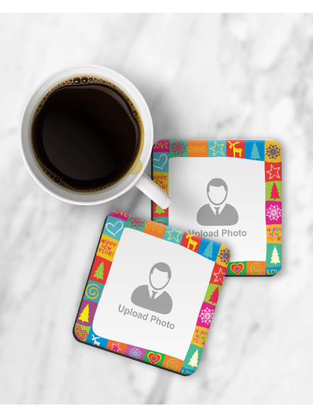 Happy New Year Pattern Personalized Square Coaster-RCOSTER0024