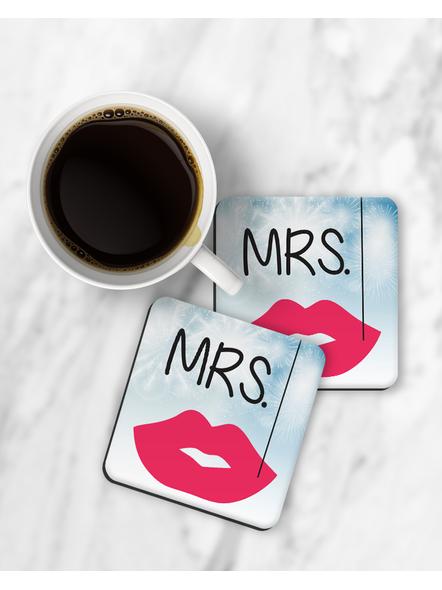 Mrs. Printed Designer Square Coaster-RCOSTER0032