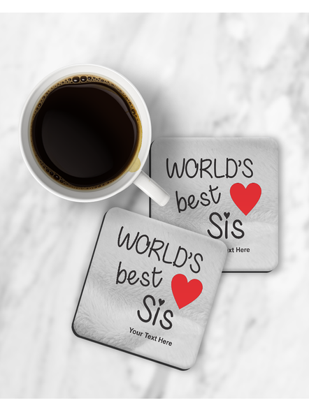 World's Best Sis Printed Square Coaster-RCOSTER0033